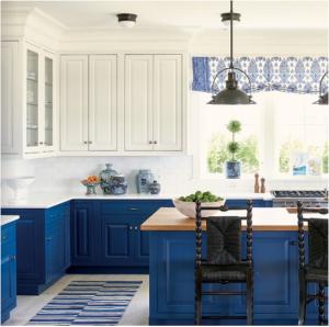 kitchen-design-in-kennesaw-ga-cobalt-blue-base-cabinets-ivory-top-cabinets-butcher-block-island