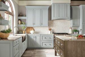 kitchen-remodel-in-Kennesaw-ga-kraftmaid-seafoam-blue-maple-cabinets-kitchen-island